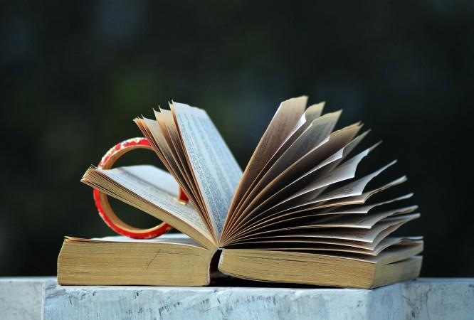 otwarta książka z rozwianymi kartkami