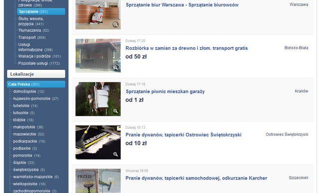 Usługi sprzątania na Sprzedajemy.pl