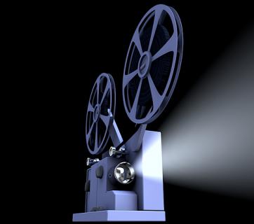 srebrny projektor filmowy