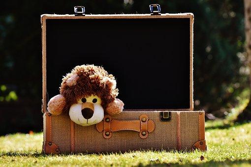 Oryginalna zabawka w walizce na trawie