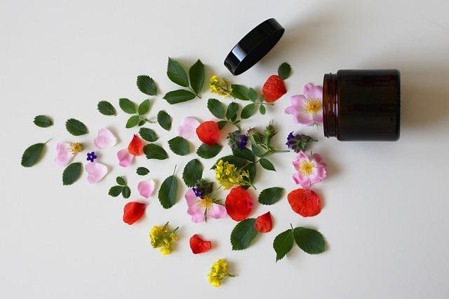 Zioła, kwiaty i słoik na krem